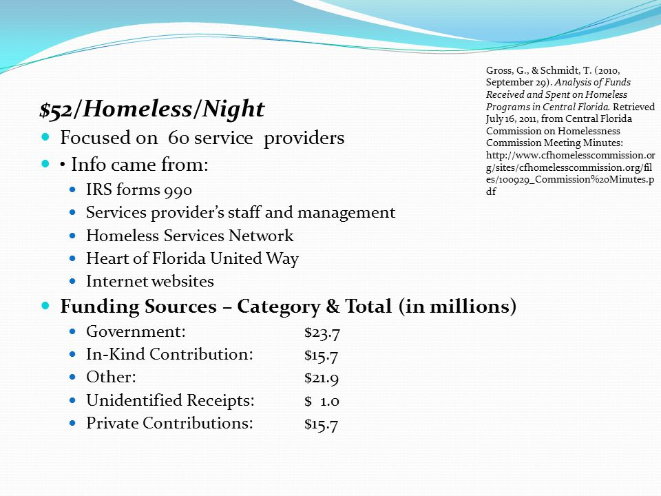 $52/Homeless/Night Focused on 60 service providers • Info came from: