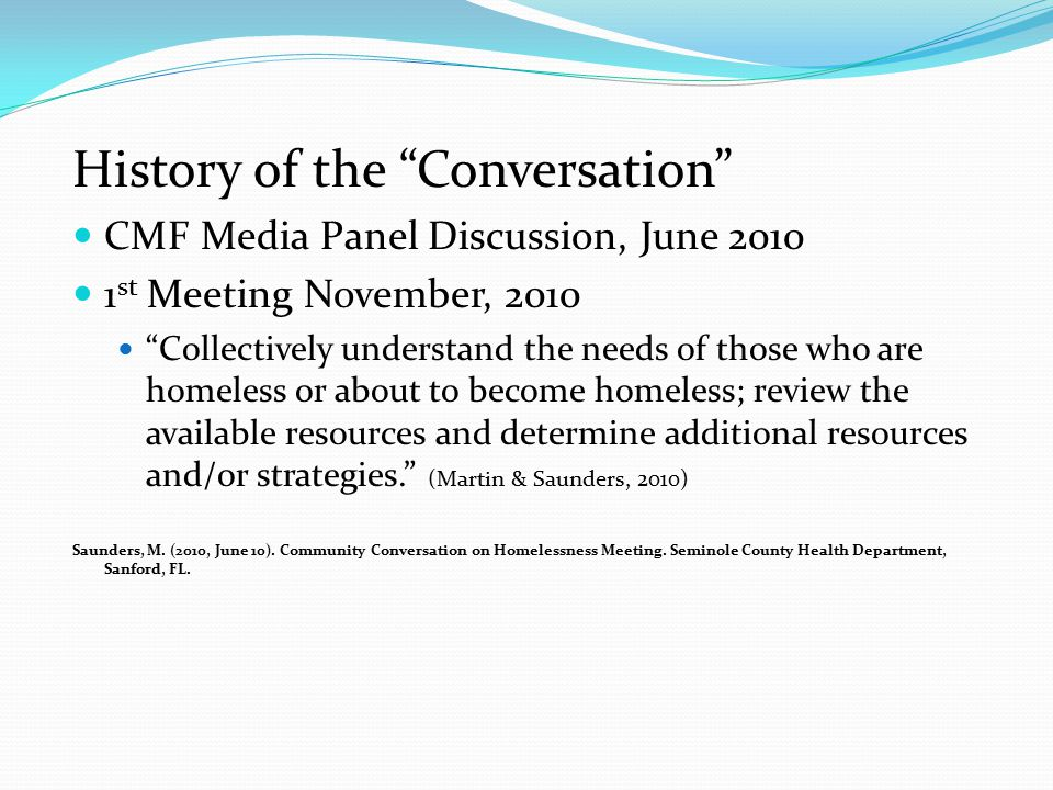 History of the Conversation