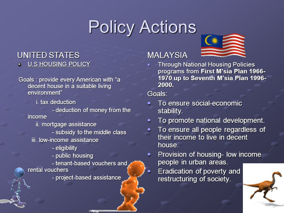 Policy Actions UNITED STATES MALAYSIA i. tax deduction Goals: