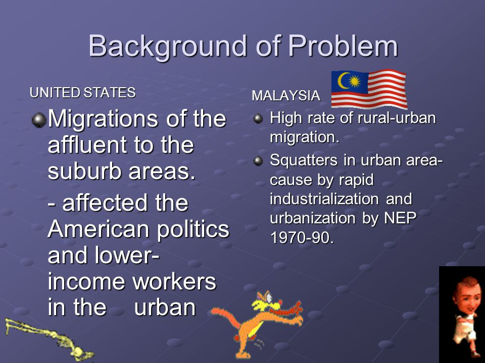 Background of Problem Migrations of the affluent to the suburb areas.