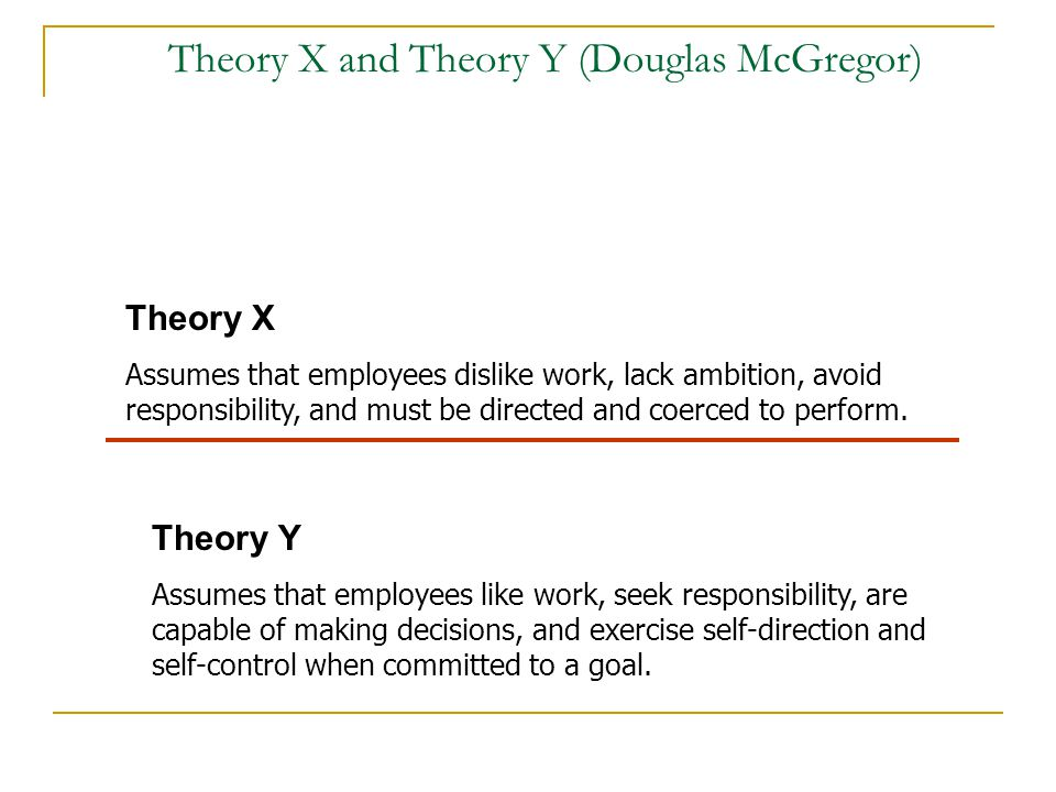 Theory X and Theory Y (Douglas McGregor)