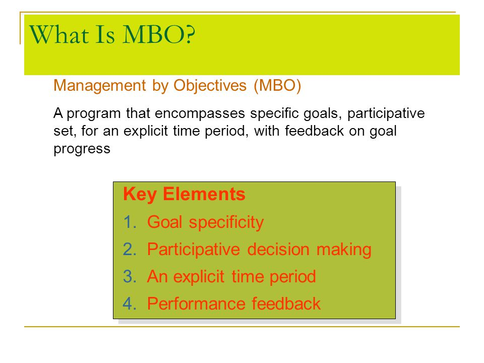 What Is MBO Key Elements Goal specificity
