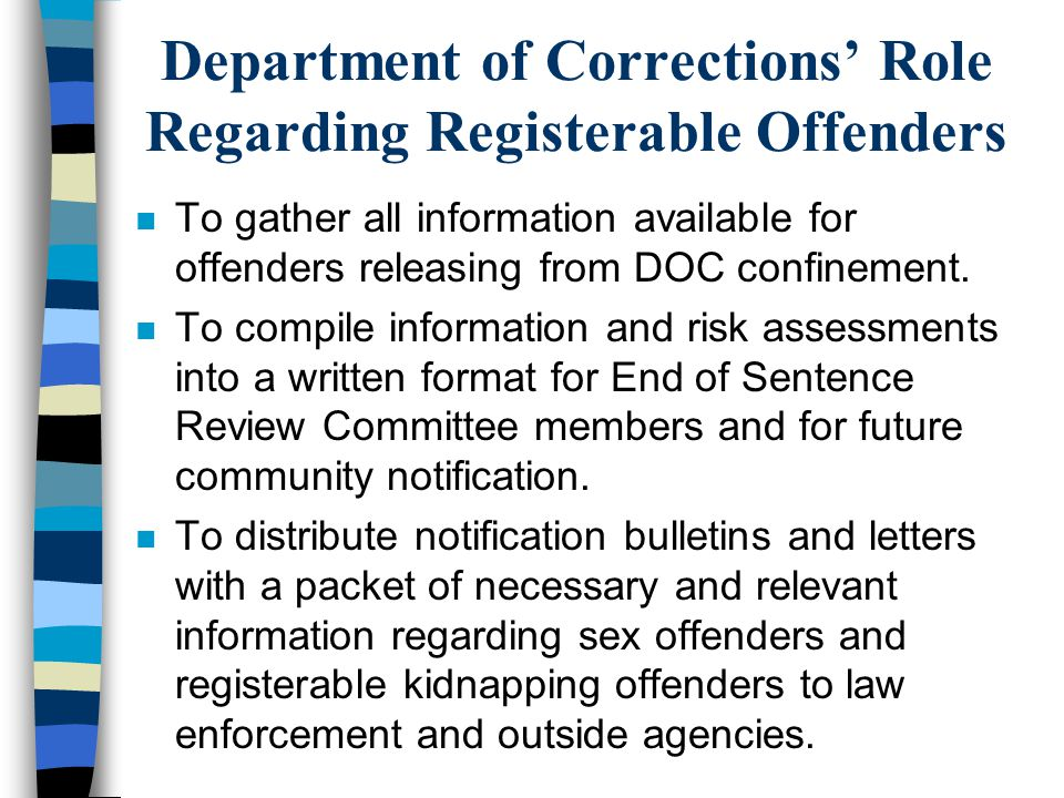 Department of Corrections' Role Regarding Registerable Offenders
