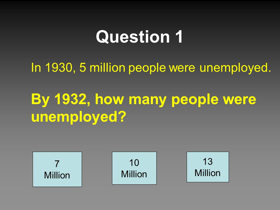 Question 1 By 1932, how many people were unemployed