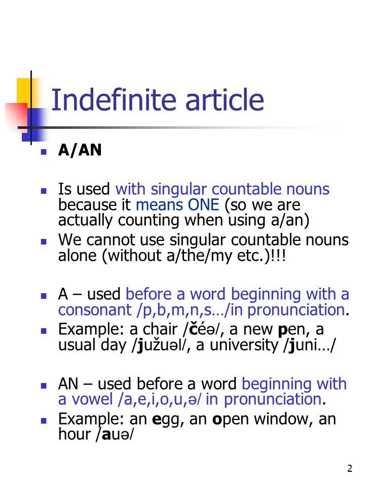 Indefinite article A/AN