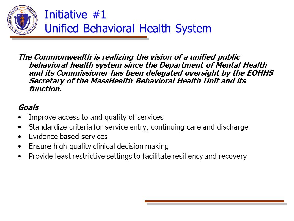 Initiative #1 Unified Behavioral Health System