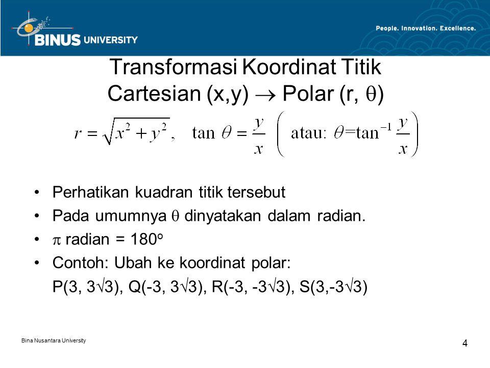 Transformasi Koordinat Titik Cartesian (x,y)  Polar (r, )