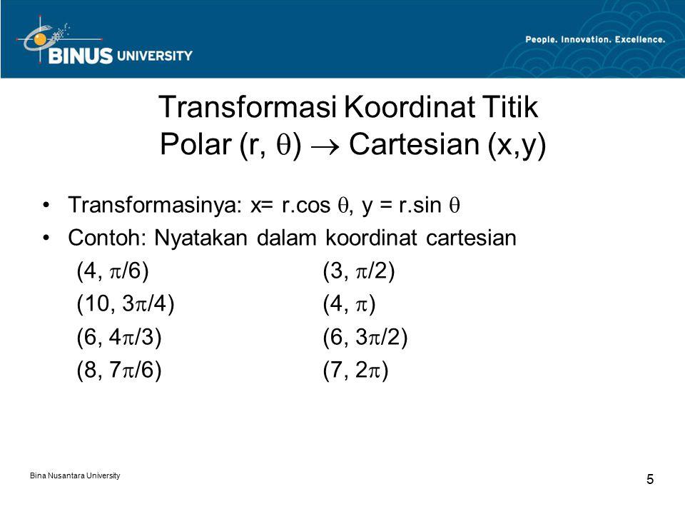 Transformasi Koordinat Titik Polar (r, )  Cartesian (x,y)