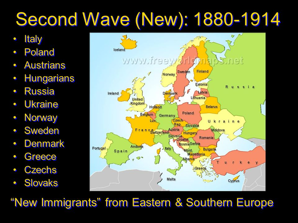 Second Wave (New): 1880-1914 Italy. Poland. Austrians. Hungarians. Russia. Ukraine. Norway. Sweden.