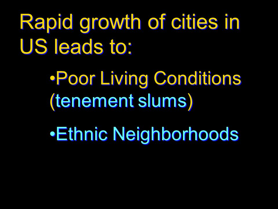 Rapid growth of cities in US leads to: