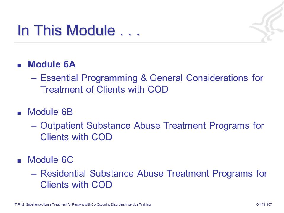 In This Module . . . Module 6A. Essential Programming & General Considerations for Treatment of Clients with COD.