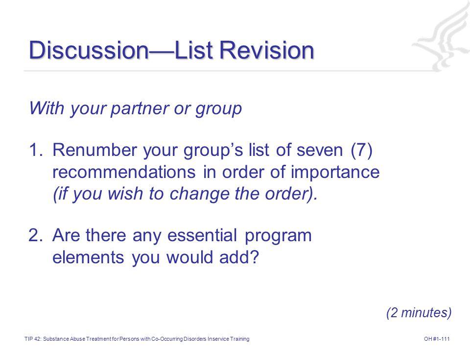 Discussion—List Revision