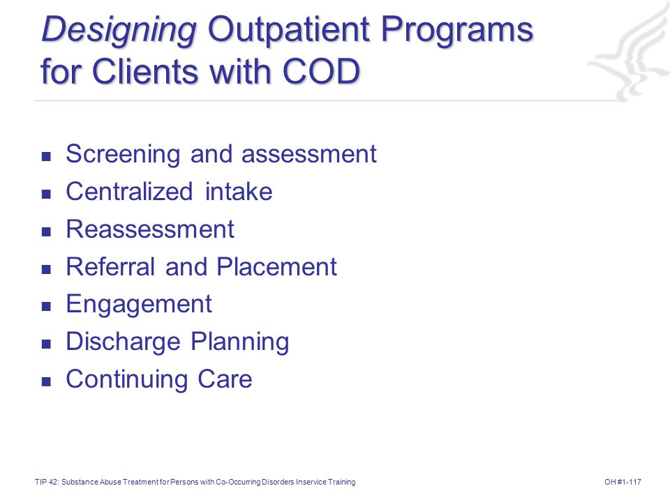 Designing Outpatient Programs for Clients with COD