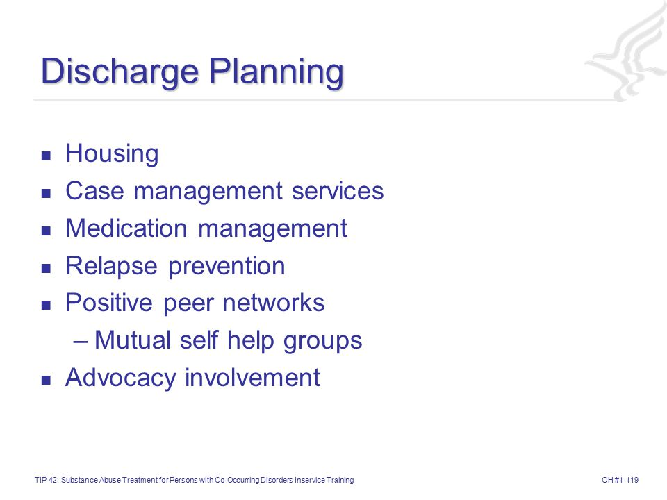 Discharge Planning Housing Case management services