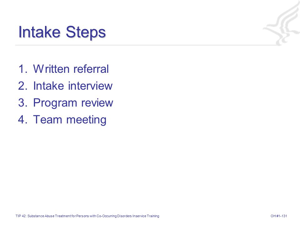 Intake Steps 1. Written referral 2. Intake interview 3. Program review