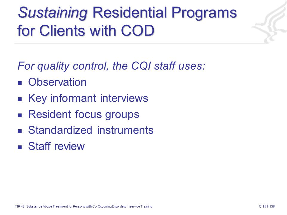 Sustaining Residential Programs for Clients with COD