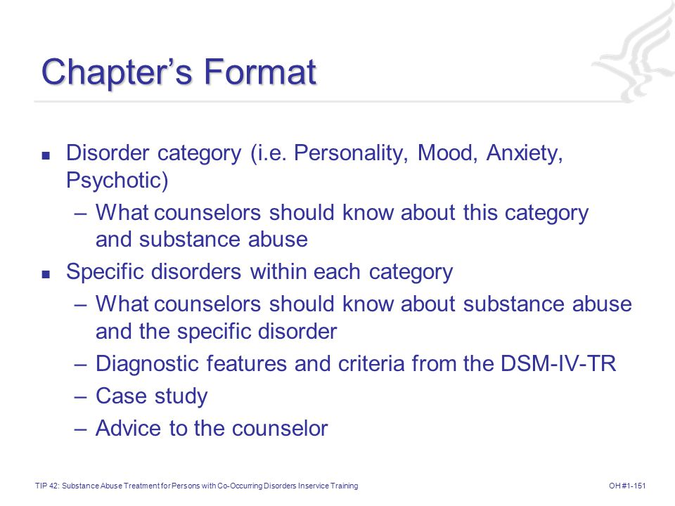 Chapter's Format Disorder category (i.e. Personality, Mood, Anxiety, Psychotic) What counselors should know about this category and substance abuse.