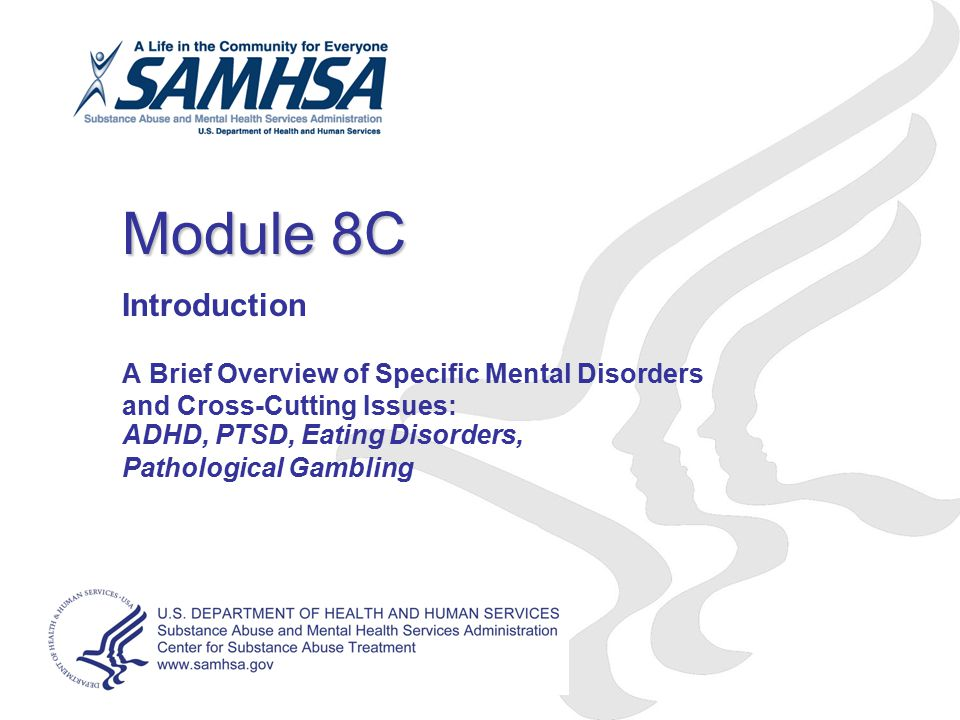 Module 8C Introduction. A Brief Overview of Specific Mental Disorders and Cross-Cutting Issues: ADHD, PTSD, Eating Disorders,