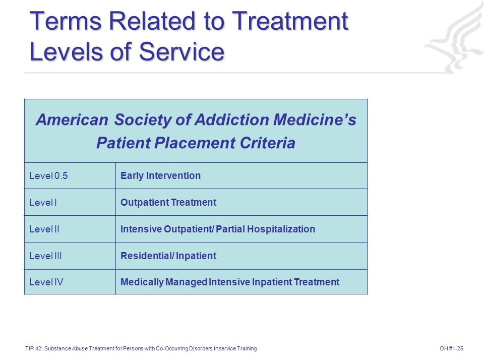 Terms Related to Treatment Levels of Service
