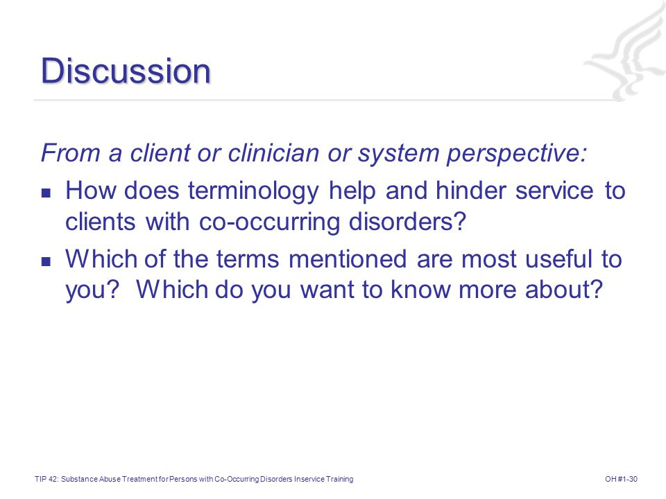 Discussion From a client or clinician or system perspective: