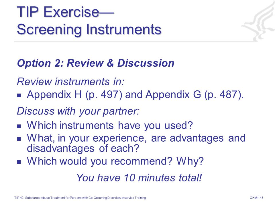 TIP Exercise— Screening Instruments