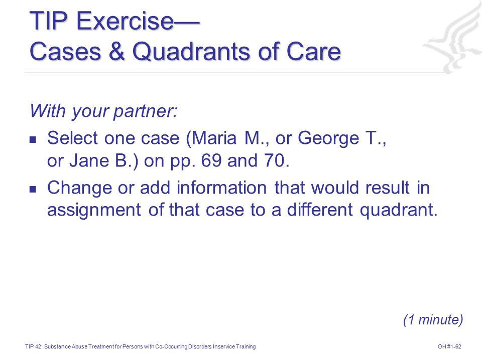 TIP Exercise— Cases & Quadrants of Care