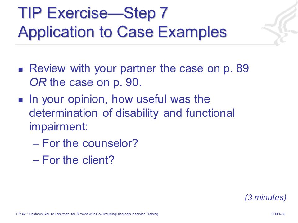 TIP Exercise—Step 7 Application to Case Examples