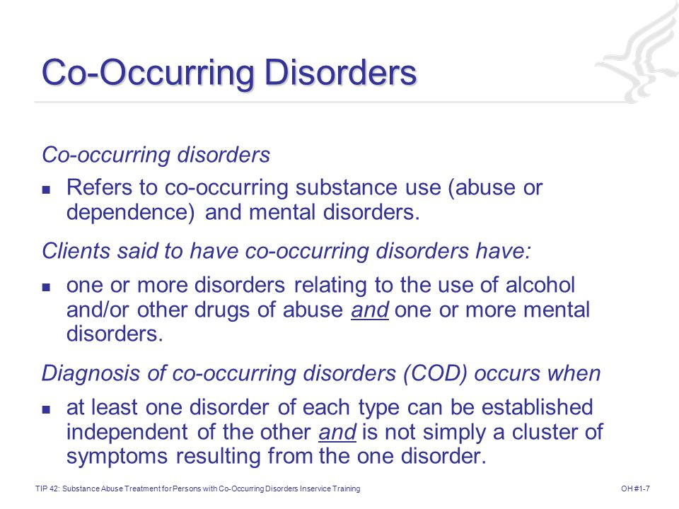 co occurring disorder A co-occurring disorder refers to a person with substance abuse issues (drugs or alcohol) and a dsm-5 diagnosed mental illness: depression, ptsd, anxiety, bipolar.