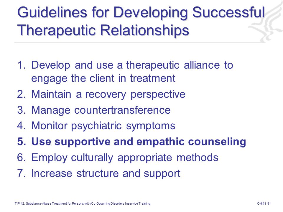 Guidelines for Developing Successful Therapeutic Relationships