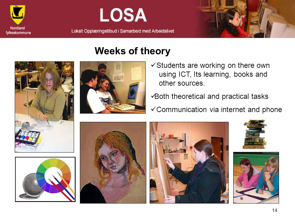 Weeks of theory Students are working on there own using ICT, Its learning, books and other sources.