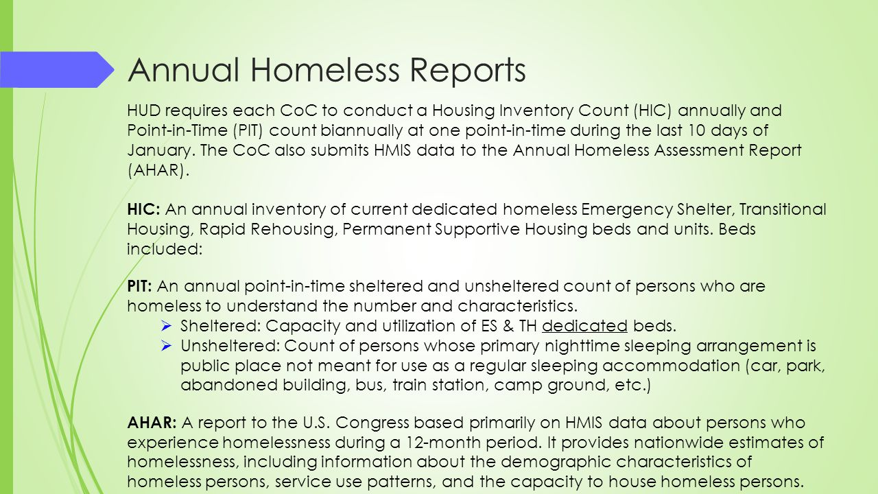 Annual Homeless Reports