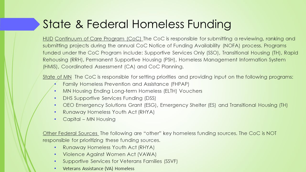 State & Federal Homeless Funding