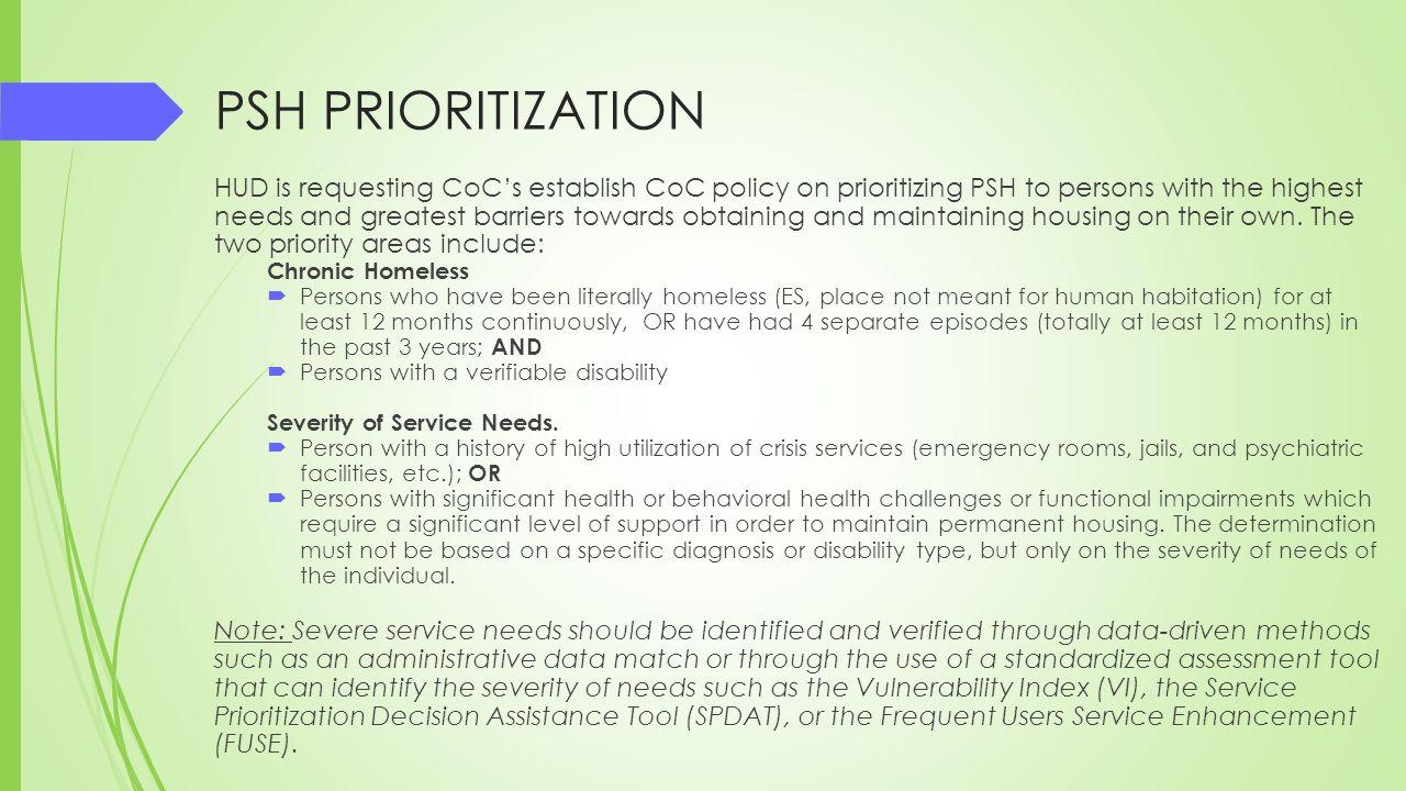 PSH PRIORITIZATION