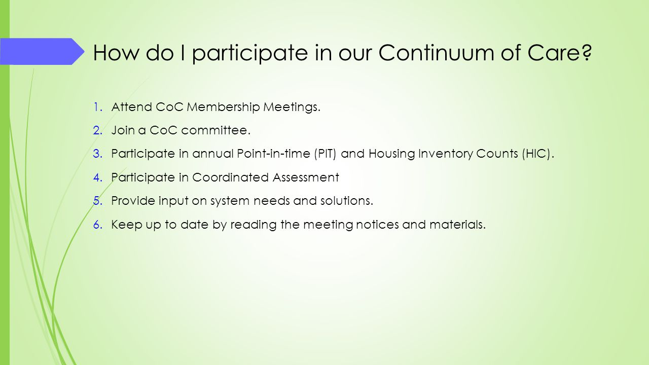 How do I participate in our Continuum of Care