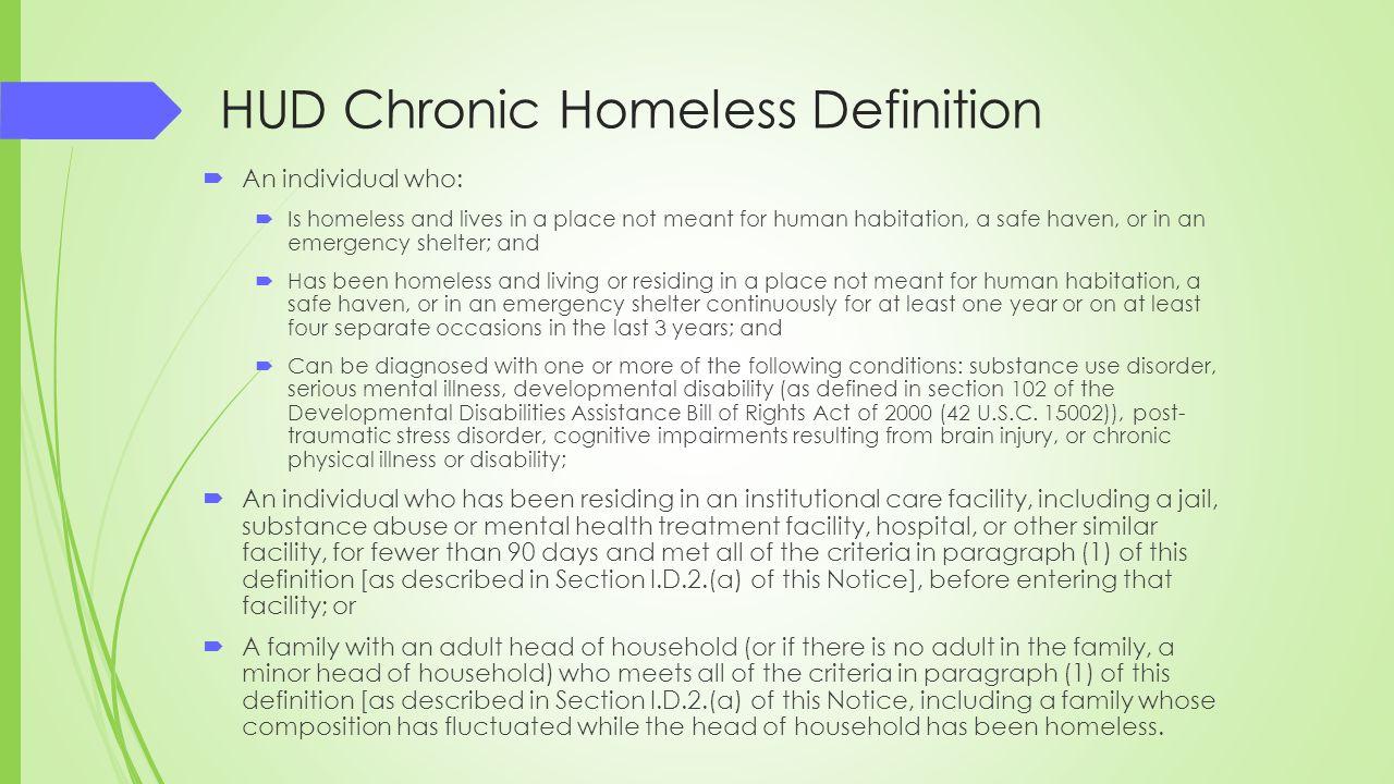 HUD Chronic Homeless Definition