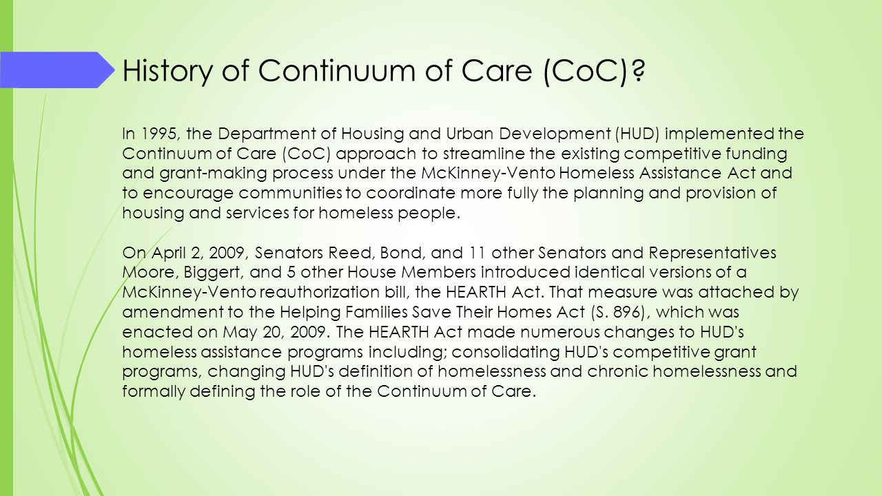 History of Continuum of Care (CoC)
