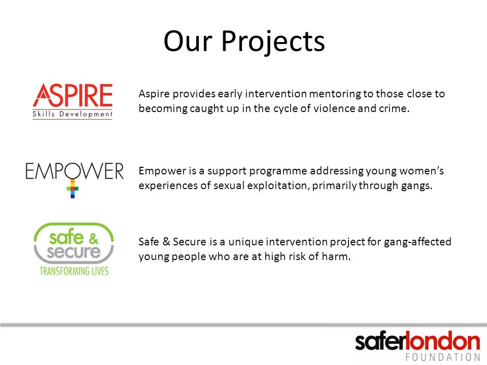 Our Projects Aspire provides early intervention mentoring to those close to becoming caught up in the cycle of violence and crime.