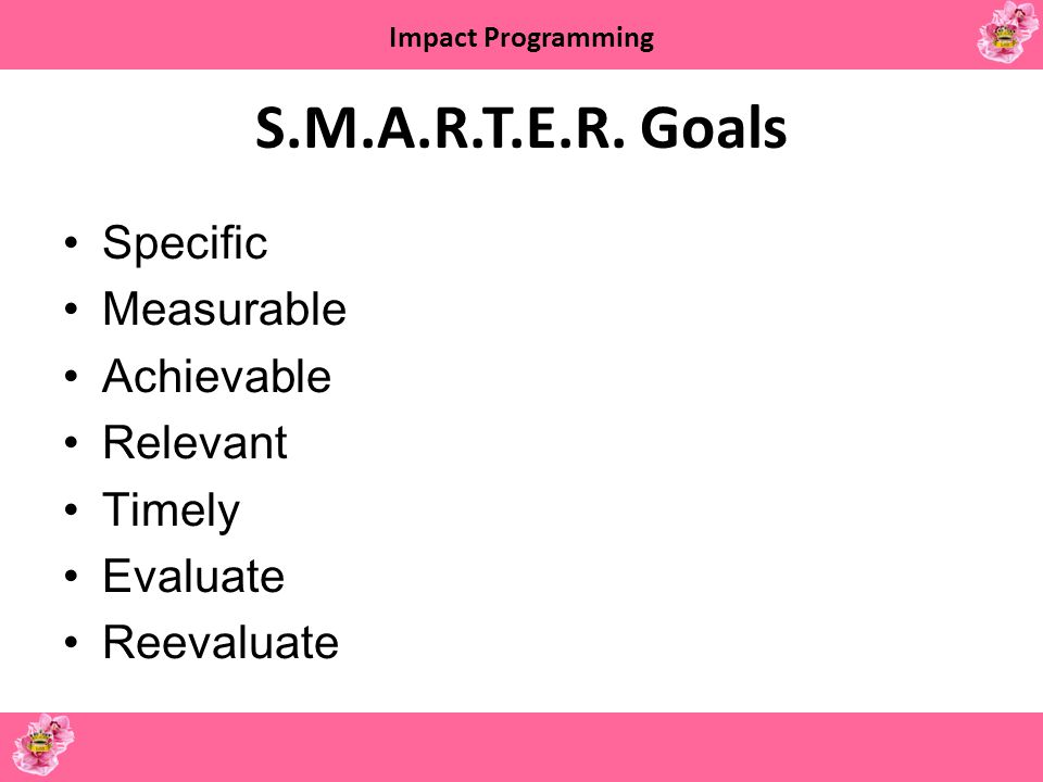 S.M.A.R.T.E.R. Goals Specific Measurable Achievable Relevant Timely