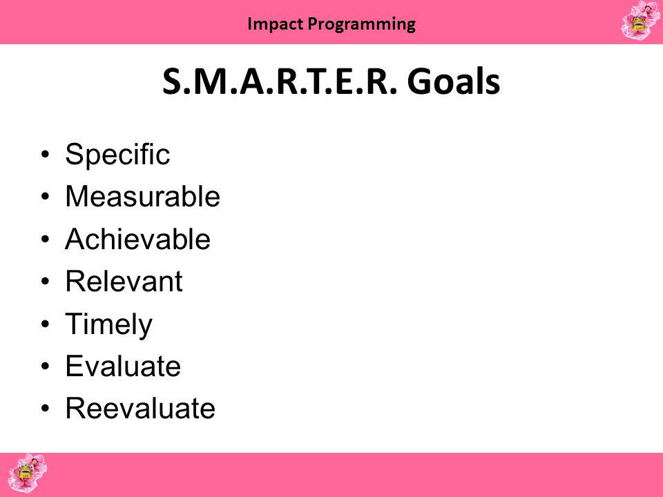 S.M.A.R.T.E.R. Goals Specific Measurable Achievable Relevant Timely