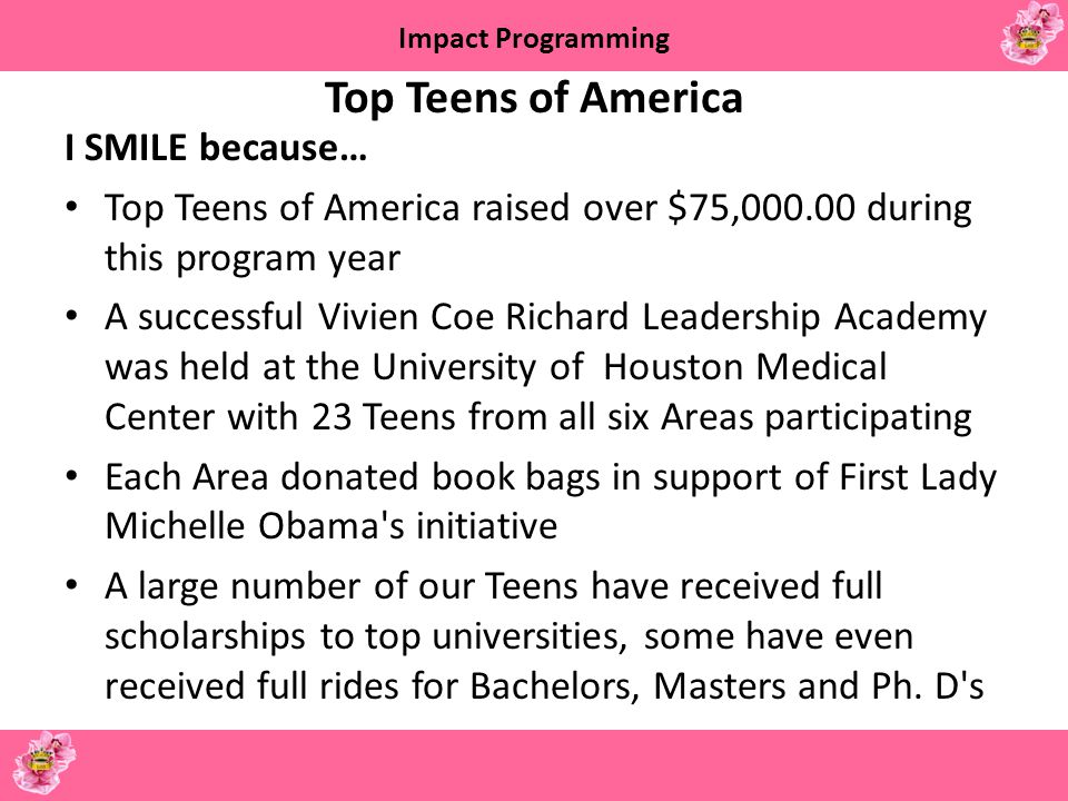 Top Teens of America I SMILE because…