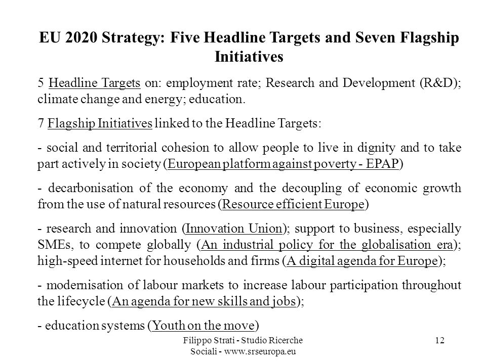 EU 2020 Strategy: Five Headline Targets and Seven Flagship Initiatives