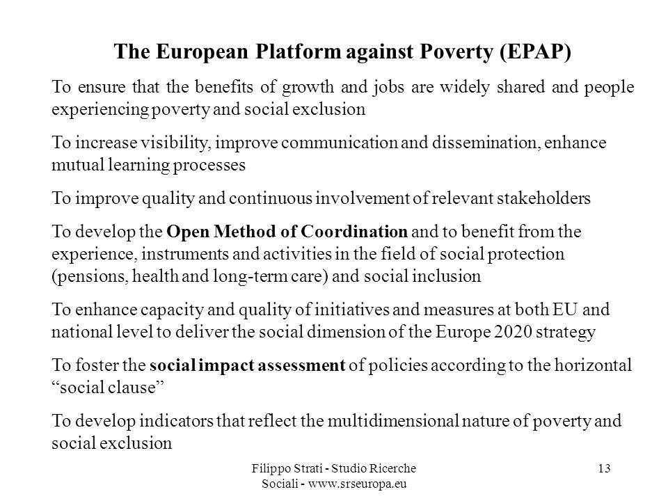 The European Platform against Poverty (EPAP)