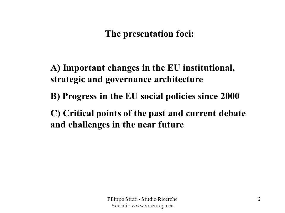 The presentation foci: