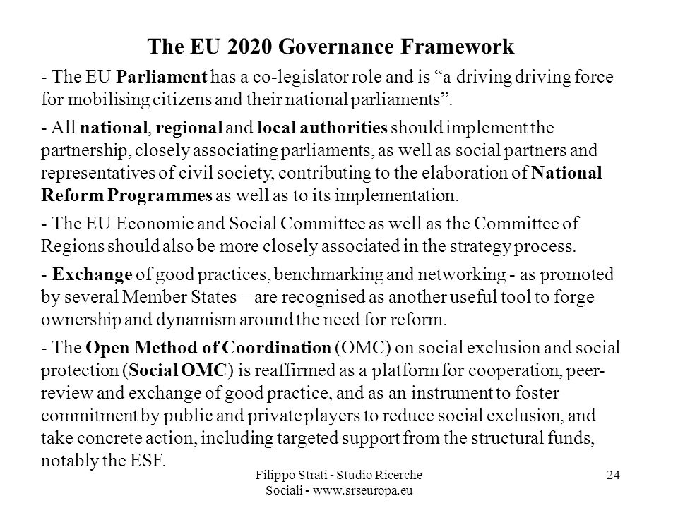 The EU 2020 Governance Framework