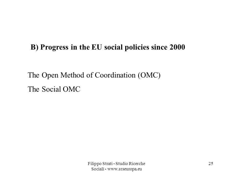 B) Progress in the EU social policies since 2000