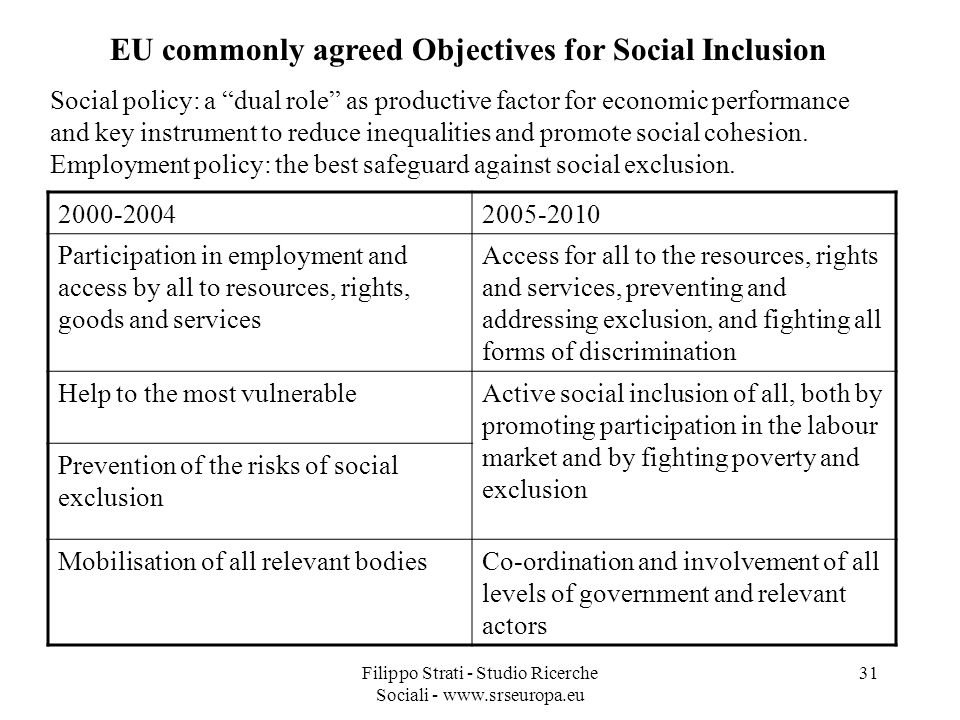 EU commonly agreed Objectives for Social Inclusion