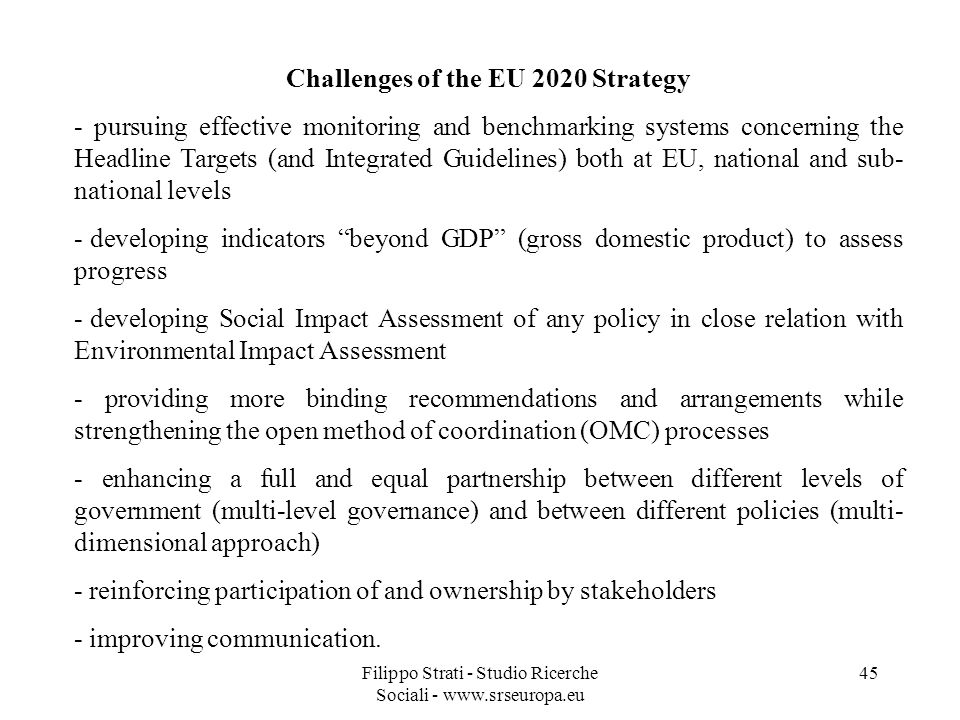 Challenges of the EU 2020 Strategy