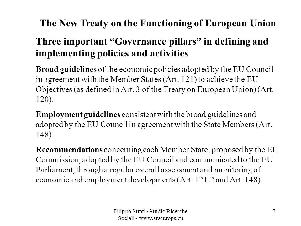 The New Treaty on the Functioning of European Union