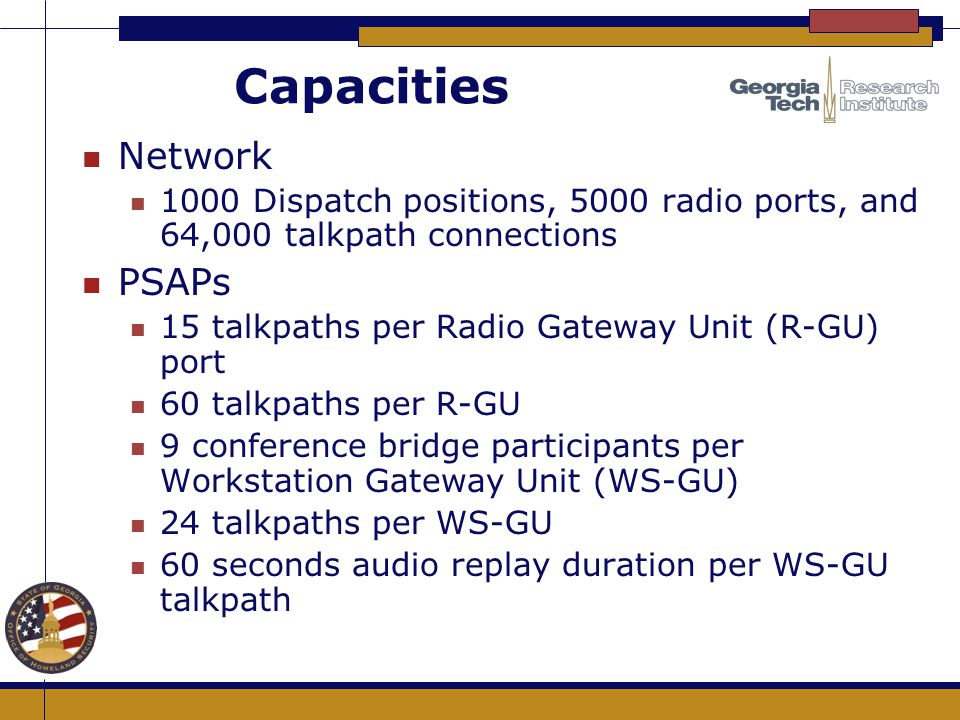 Capacities Network PSAPs