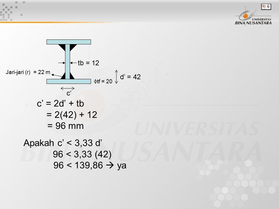 c' = 2d' + tb = 2(42) + 12 = 96 mm Apakah c' < 3,33 d'